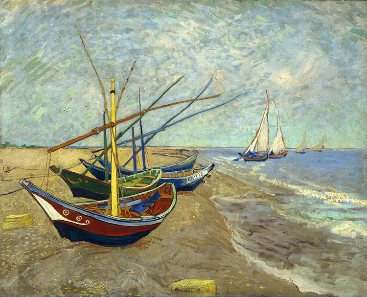 A Ship on St. Mary's Beach, Van Gogh Famouse Painting,European Living Room Dining Room Sofa Bac